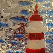 Для дома и интерьера ручной работы. Ярмарка Мастеров - ручная работа Подсвечник-фонарик Маяк цветное стекло. Handmade.