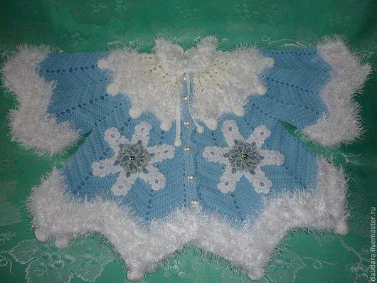 Одежда для девочек, ручной работы. Ярмарка Мастеров - ручная работа. Купить Кофточка детская вязаная «Снегурочка», для девочки. Handmade. Голубой