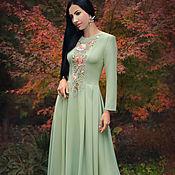 Одежда handmade. Livemaster - original item Elegant floor-length dress with hand embroidery