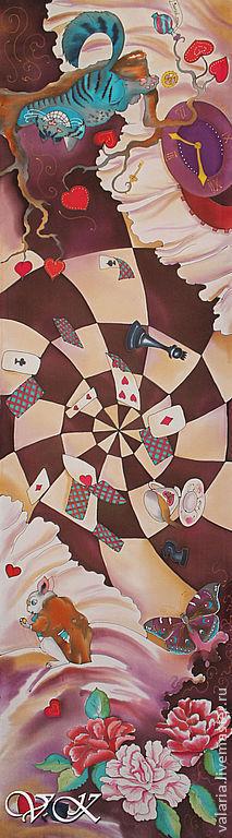 """Шарфы и шарфики ручной работы. Ярмарка Мастеров - ручная работа. Купить Батик шарф  """"Алиса в стране чудес"""". Handmade. Голубой"""