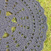 """Для дома и интерьера ручной работы. Ярмарка Мастеров - ручная работа вязаный коврик """"Кружево"""" темно-синий. Handmade."""