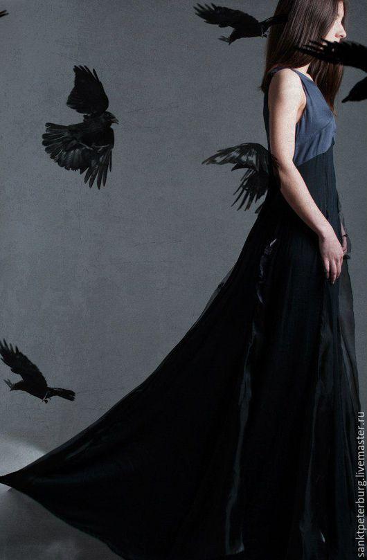 Платья ручной работы. Ярмарка Мастеров - ручная работа. Купить Платье вечернее в пол. Handmade. Темно-серый, вечернее, шафон