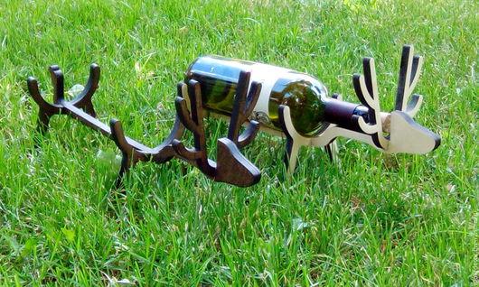 Подарочное оформление бутылок ручной работы. Ярмарка Мастеров - ручная работа. Купить Подставка для вина в виде оленя. Handmade. Черный