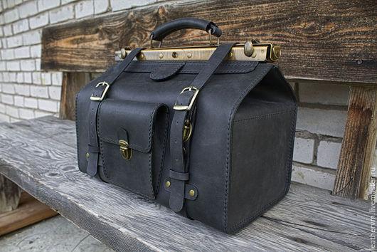 """Мужские сумки ручной работы. Ярмарка Мастеров - ручная работа. Купить Сумка саквояж """"Аль Капоне"""", кожа, чёрный,ручная работа. Handmade."""