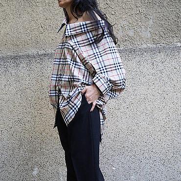 Одежда ручной работы. Ярмарка Мастеров - ручная работа Рубашка из хлопка/Рубашка с открытыми плечами/F1686. Handmade.