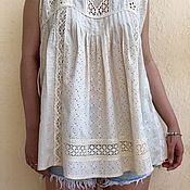 Одежда handmade. Livemaster - original item Summer cream tunic made of cotton, sewing and lace in boho style is Softer than tenderness.. Handmade.