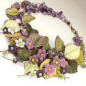 Украшения handmade. Livemaster - original item Happy Valley Lilac. Necklace, flowers made of genuine leather. Handmade.