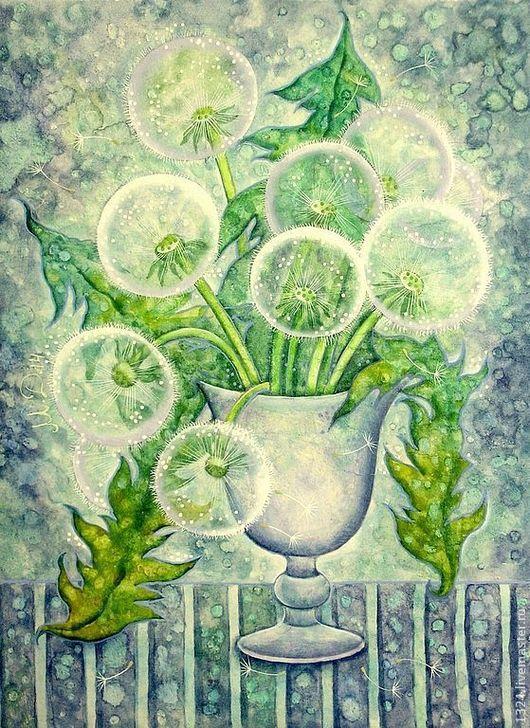 """Картины цветов ручной работы. Ярмарка Мастеров - ручная работа. Купить """"Одуванчики.Равновесие."""". Handmade. Голубой, нежность, весна"""