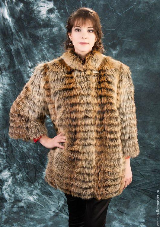 Верхняя одежда ручной работы. Ярмарка Мастеров - ручная работа. Купить Полушубок из меха лисы в росшив. Handmade. Коричневый, купить
