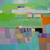 """Картины и панно ручной работы. Ярмарка Мастеров - ручная работа """"Old dam"""" 60х60 зеленая картина маслом мастихином пейзаж. Handmade."""