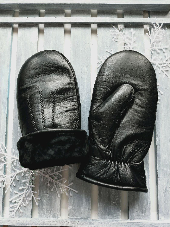 Рукавицы, варежки мужские из кожи на мутоне, черного цвета, Варежки, Москва,  Фото №1