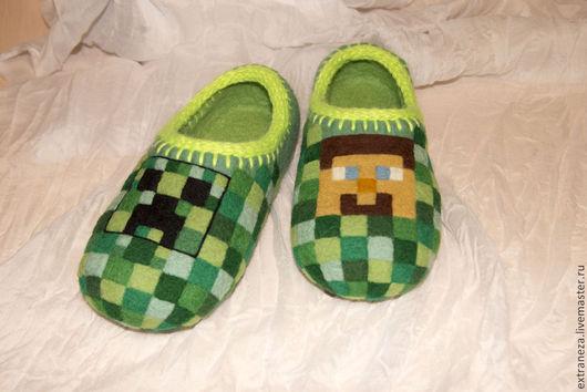 Обувь ручной работы. Ярмарка Мастеров - ручная работа. Купить Тапочки Майнкрафт. Handmade. Зеленый, подарок, подошва