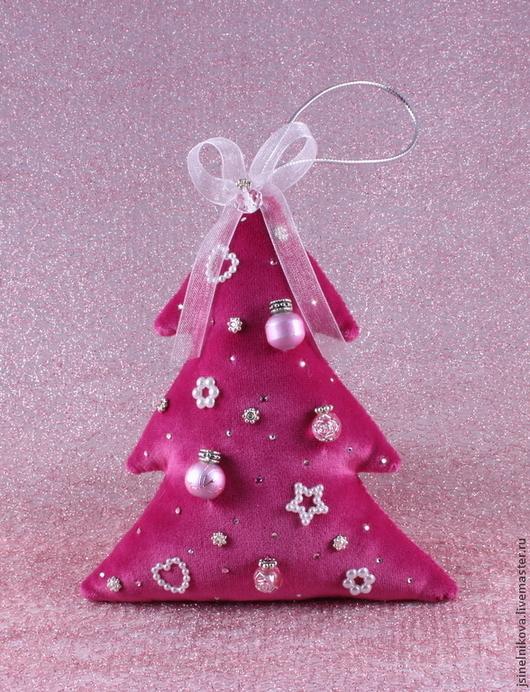 Новый год 2017 ручной работы. Ярмарка Мастеров - ручная работа. Купить Елочка новогодняя из бархата ярко-розовая. Handmade. Розовый