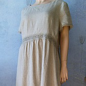 Одежда handmade. Livemaster - original item Dress of unbleached linen(with lace). Handmade.