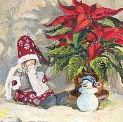 Картины и панно ручной работы. Ярмарка Мастеров - ручная работа Картина маслом «Рождественская звезда — пуансеттия». Handmade.