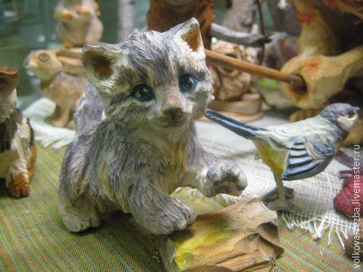 Игрушки животные, ручной работы. Ярмарка Мастеров - ручная работа. Купить Котеночек-резьба по дереву. Handmade. Котенок, коты и кошки