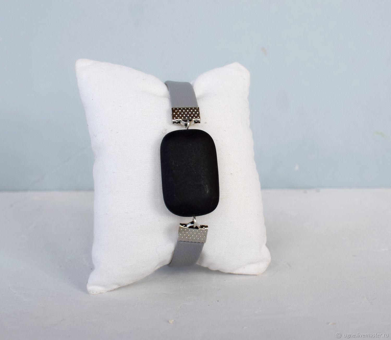 Bracelet for women grey with stone, Hard bracelet, Cheremshanka,  Фото №1