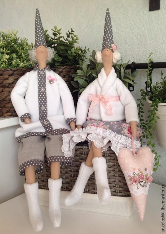 Куклы Тильды ручной работы. Ярмарка Мастеров - ручная работа. Купить Гномы-хранители семейного счастья. Handmade. Белый, розовый