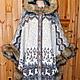 Вязаное пончо с капюшоном,отделка искусственным мехом