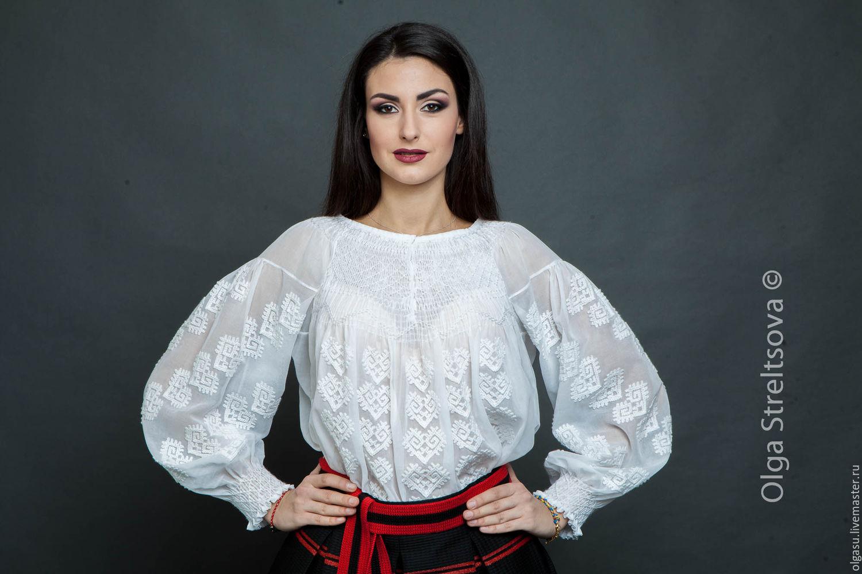 """Белая блуза с вышивкой """"Белая роскошь"""" ручная вышивка, Блузки, Винница, Фото №1"""