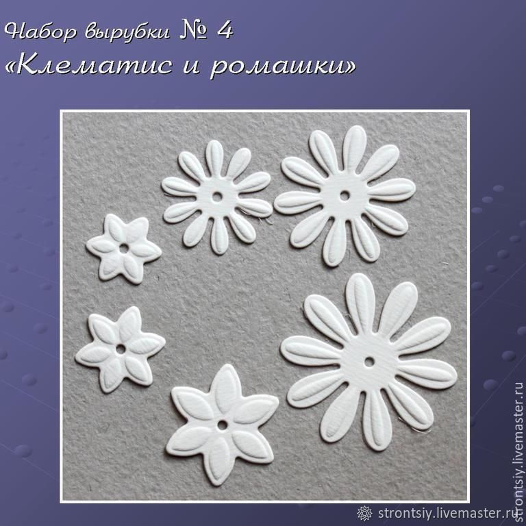 Set cutting number 4 Clematis and chamomile, Scrapbooking cuttings, Rostov-on-Don,  Фото №1