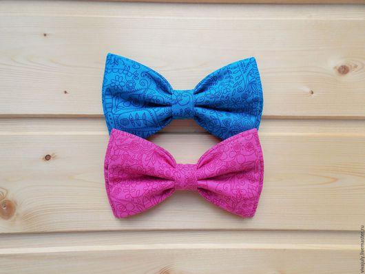 Галстуки, бабочки ручной работы. Ярмарка Мастеров - ручная работа. Купить Галстук бабочка с орнаментом / бабочка галстук бирюзовая и розовая. Handmade.