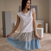 Одежда handmade. Livemaster - original item Gradient linen dress with wings of gray-blue color. Handmade.