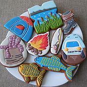 Сувениры и подарки handmade. Livemaster - original item Set of gingerbread. Gingerbread for the fishing lover.. Handmade.