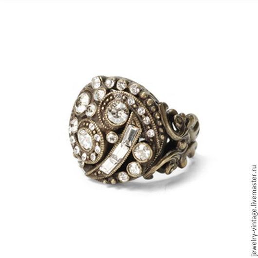 Винтажные украшения. Ярмарка Мастеров - ручная работа. Купить Кольцо в стиле ART DECO. Handmade. Коричневый, кольцо, кольцо с кристаллами