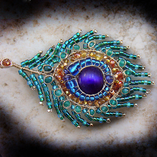 Brooches handmade. Livemaster - handmade. Buy Brooch 'peacock Feather'.Dark turquoise, filled with gold (14kt gold fi