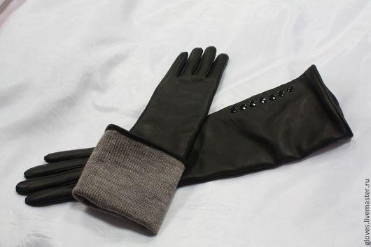 Варежки, митенки, перчатки ручной работы. Ярмарка Мастеров - ручная работа. Купить Перчатки удлиненные кожаные с подкладкой и пуговками. Handmade.