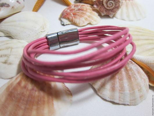 """Браслеты ручной работы. Ярмарка Мастеров - ручная работа. Купить Розовый кожаный браслет """"Минекс"""". Handmade. Розовый, кожаный браслет"""