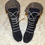 Обувь ручной работы. Ярмарка Мастеров - ручная работа Валенки-сапоги на подошве со шнуровкой. Handmade.