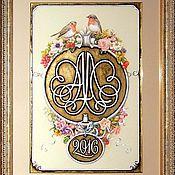 Картины и панно ручной работы. Ярмарка Мастеров - ручная работа Свадебная монограмма с малиновками. Handmade.