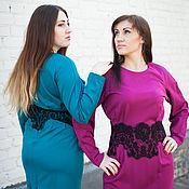Одежда handmade. Livemaster - original item New Dress with French lace - fuchsia. Handmade.