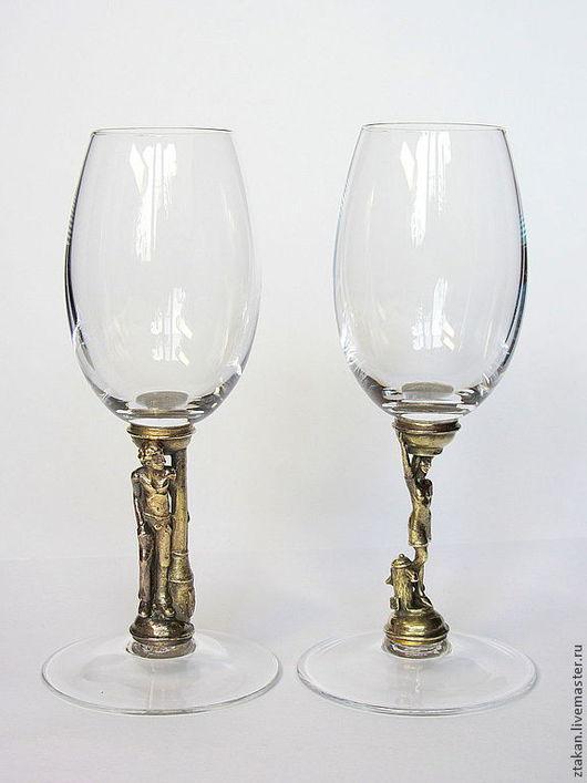 """Бокалы, стаканы ручной работы. Ярмарка Мастеров - ручная работа. Купить Набор из 2х бокальчиков """"Италия"""". Handmade. Бокал, хрусталь"""