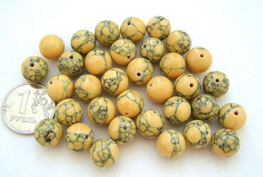 Для украшений ручной работы. Ярмарка Мастеров - ручная работа. Купить Кахолонг тонированный жёлтый, бусины. Handmade. Желтый, кахолонг