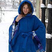 Одежда ручной работы. Ярмарка Мастеров - ручная работа Пончо пальто с рюшей с капюшоном синее. Handmade.