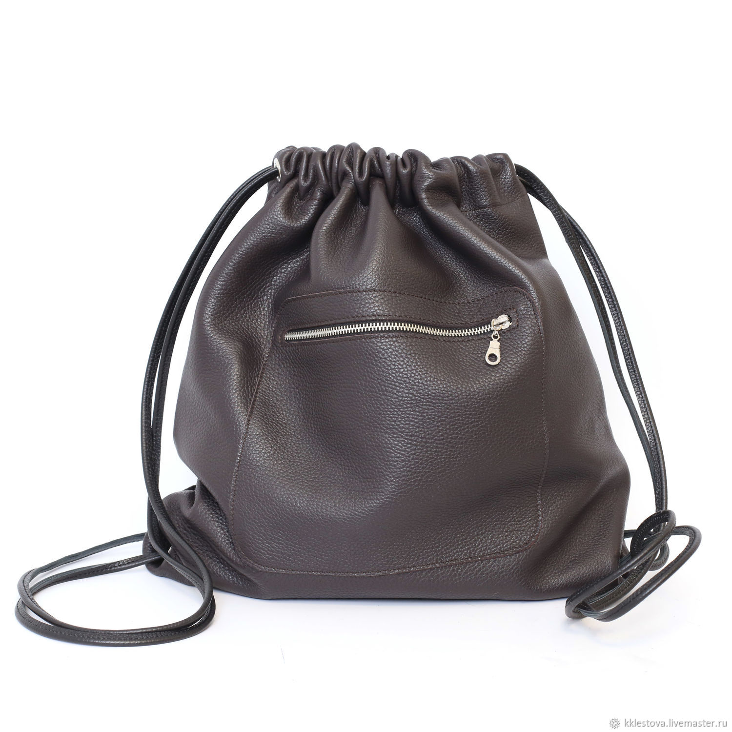 Chocolate Backpack leather large Bag with two pockets, Backpacks, Moscow,  Фото №1