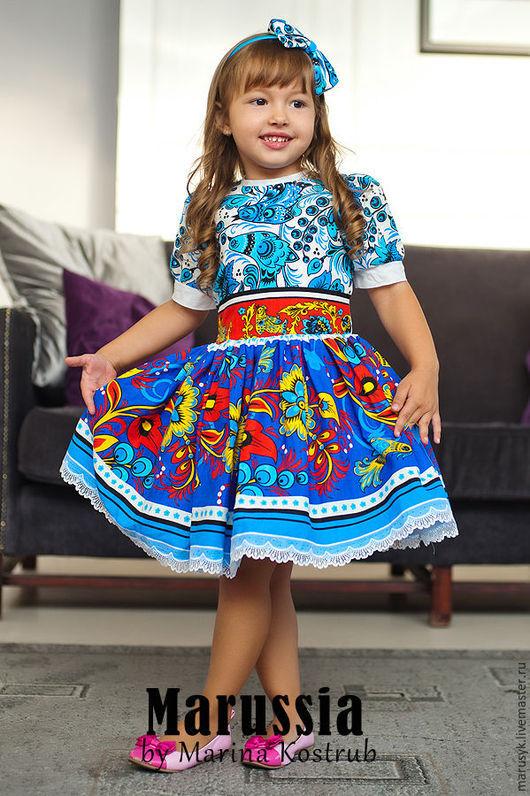 Одежда для девочек, ручной работы. Ярмарка Мастеров - ручная работа. Купить Платье РЧ-8/хохлома. Handmade. Голубой, платье для девочки
