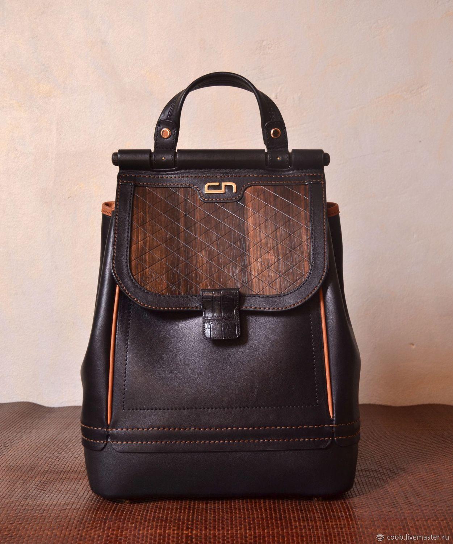 Городской кожаный черный рюкзак с клапаном из черного дерева CARA, Чехлы, Москва, Фото №1
