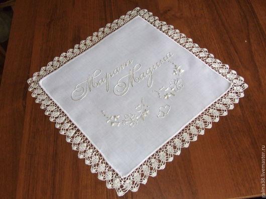 Носовые платочки ручной работы. Ярмарка Мастеров - ручная работа. Купить Свадебный платочек для невесты. Handmade. Платочек свадебный