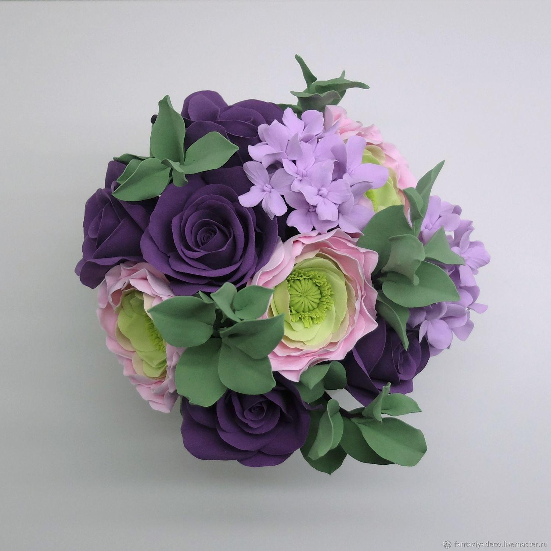 Интерьерный букет с розами ранункулюсами гортензией в сиреневых тонах – заказать на Ярмарке Мастеров – EBIRTRU | Композиции, Санкт-Петербург