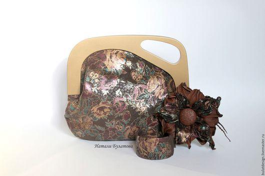 """Женские сумки ручной работы. Ярмарка Мастеров - ручная работа. Купить Комплект """"В стиле Ретро"""" Клатч кожаный, брошь и браслет. Handmade."""