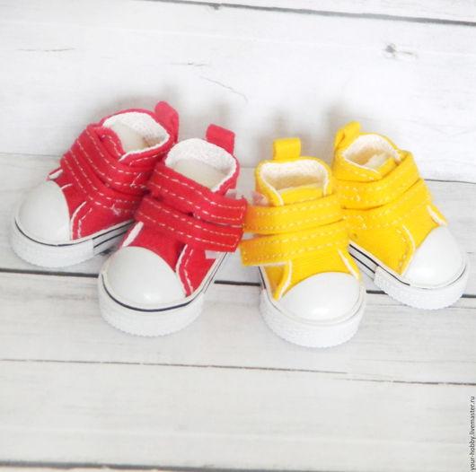 Куклы и игрушки ручной работы. Ярмарка Мастеров - ручная работа. Купить Кеды 4см. Обувь для кукол. Handmade. Желтый