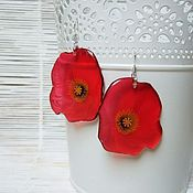 Украшения handmade. Livemaster - original item Transparent Earrings Resin Red poppy Earrings wild Flowers and Herbs. Handmade.