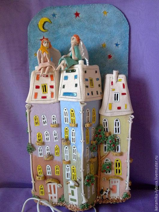 """Освещение ручной работы. Ярмарка Мастеров - ручная работа. Купить Бра """"Ангелочки над городом"""". Handmade. Синий, светильник, глина"""