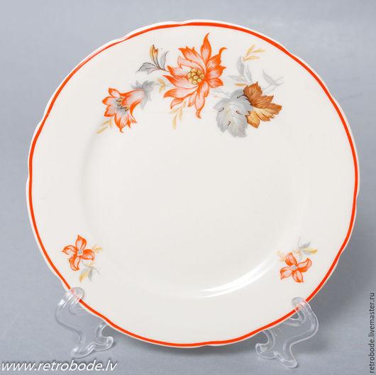 Винтажная посуда. Ярмарка Мастеров - ручная работа. Купить Антикварная Фарфоровая десертная тарелка, Рижский фарфор, Винтаж 1940. Handmade.
