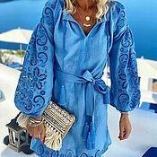 "Одежда handmade. Livemaster - original item Blue cut-embroidered dress ""Elegy of the Sea"". Handmade."