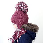 """Работы для детей, ручной работы. Ярмарка Мастеров - ручная работа Шапка, шарф - комплект вязаный для девочек  """"Брусничка"""". Handmade."""